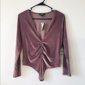 NWT Petite Express Suede Long Sleeve Bodysuit